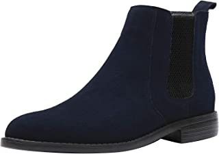JIONS Men Dress Slip on Chelsea Boot, Zipper Moto Chukka Boot Black Heel Ankel