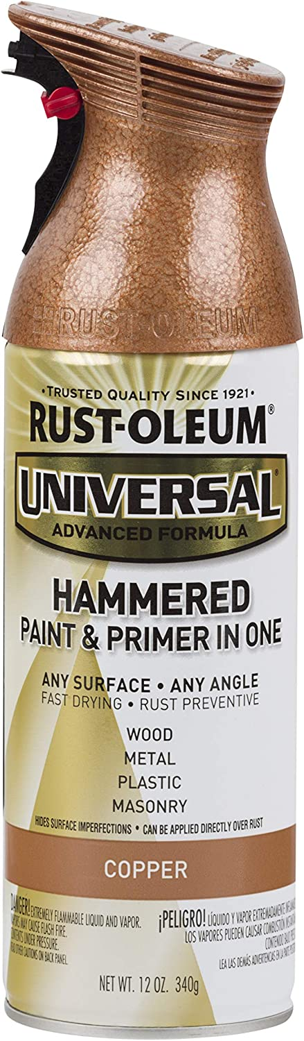 RUST-OLEUM 247567 Universal Hammered Spray Paint, 12 oz, Copper, 12 Ounce