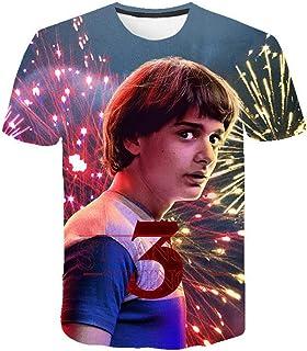 Camisetas Stranger Things Mujer, Camisetas Stranger Things Niña Manga Corta Unisex Impresión 3D T Shirt Abecedario Impresi...