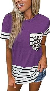 Camiseta De Manga Corta A Rayas con Cuello Redondo Y Bolsillos De Verano para Mujer