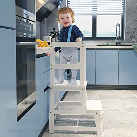 Popin Lover Kitchen Step Stool for Kids and Toddlers with Safety Rail, Kids Step Stool Standing Tower Stool for Bathroom& Kitchen