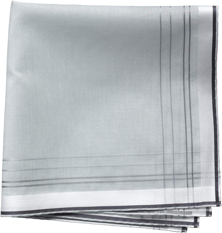 Lehner Switzerland Men's Fancy Woven Gray Check Cotton Handkerchief, White Satin Band, Hand Rolled Hem