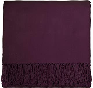 Solid Rayon from Bamboo 50 X 70 Plum Throw Purple Color Modern Contemporary Victorian from