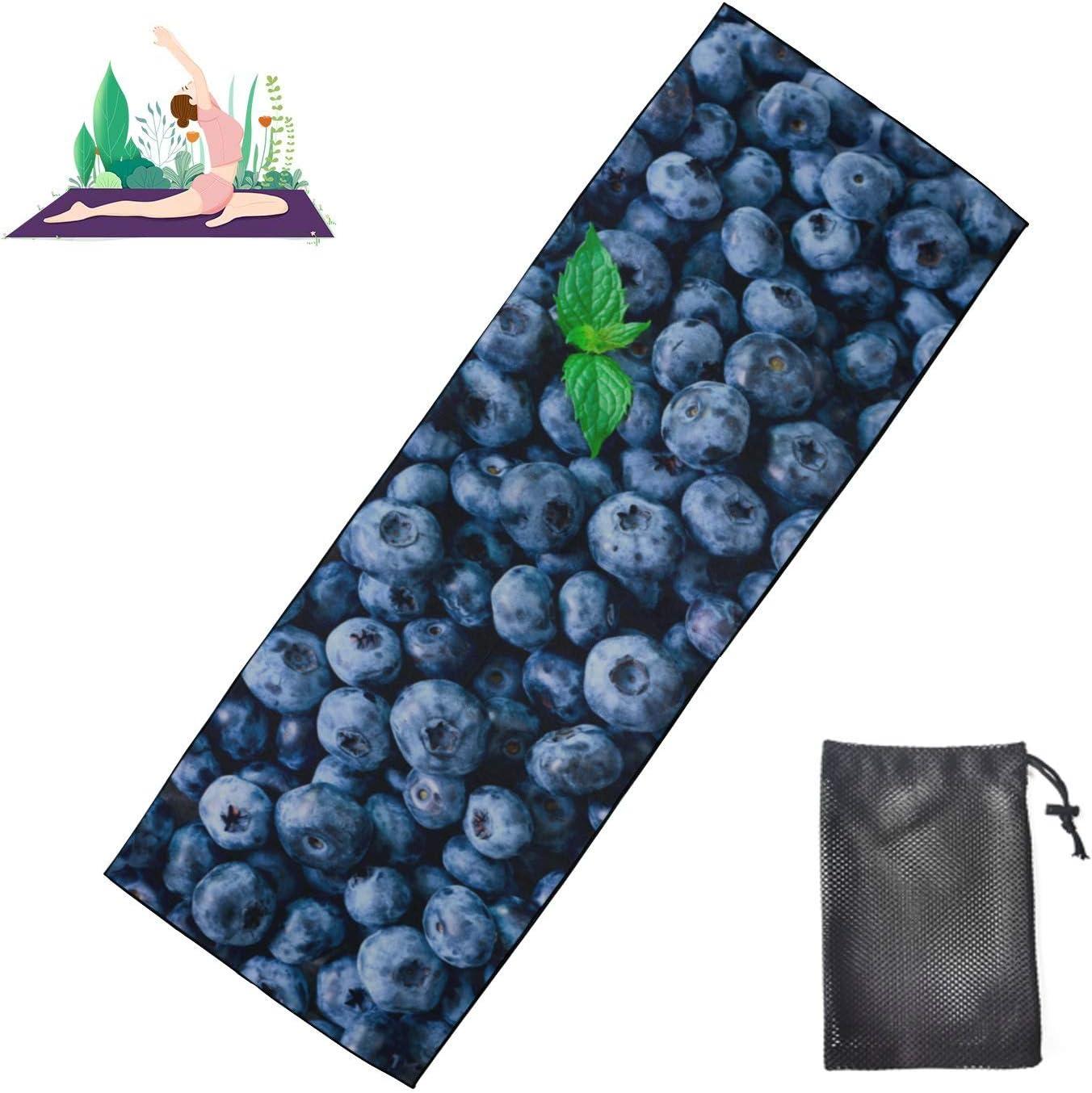 Jnseff Girl List price Yoga Mat Health Max 86% OFF Blueberries Towel Yog Protective