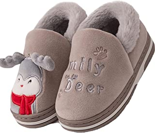 Lvptsh Zapatillas de casa Invierno para Niñas Niños Pantuflas de Cálido Antideslizante Peluche Forradas Slippers