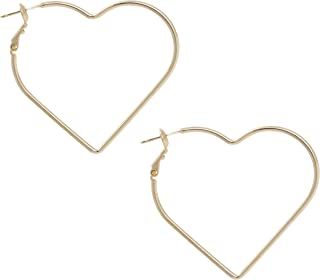 Heart Shape with Gold or Silver Rhodium Plated Hoop Statement Earrings