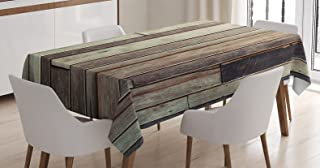 Ambesonne Wooden Tablecloth, Antique Planks Flooring Wall Picture American Style Western Rustic Panel Graphic Print, Rectangular Table Cover for Dining Room Kitchen Decor, 60