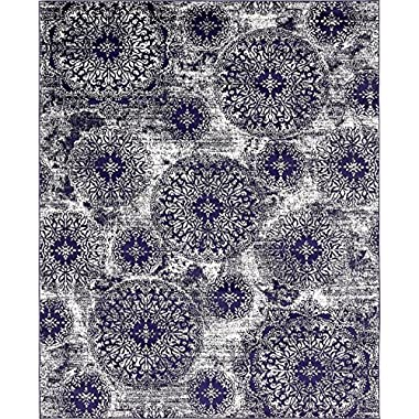 Modern Vintage Inspired Overdyed Area Rugs Navy Blue 8' x 10' FT Wembley Rug - modern & Traditional rugs for living room - rugs for dining room & bedroom - Floor Carpet
