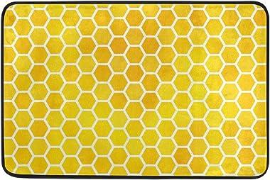 Mydaily Watercolor Yellow Hexagon Geometric Pattern Doormat 15.7 x 23.6, Living Room Bedroom Kitchen Bathroom Decorative Uniq