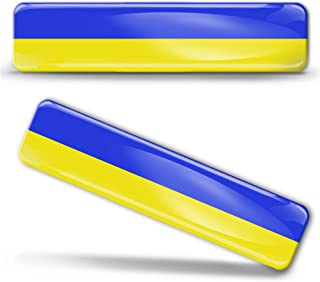 Biomar Labs® 2 x Aufkleber 3D Gel Silikon Stickers Ukraine Ukrainische Flag Flagge Fahne Autoaufkleber F 25