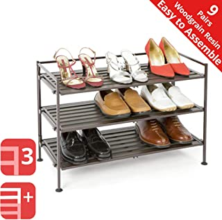 Seville Classics 3-Tier Stackable 9-Pair Woodgrain Resin Slat Shelf Sturdy Metal Frame Shoe Storage Rack Organizer, Perfect for Bedroom, Closet, Entryway, Dorm Room, Espresso, 1-Pack