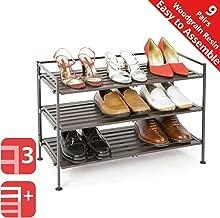 Seville Classics 3-Tier Stackable 9-Pair Woodgrain Resin Slat Shelf Sturdy Metal Frame Shoe Storage Rack Organizer, Perfect for Bedroom, Closet, Entryway, Dorm Room, Espresso, 1-Pack