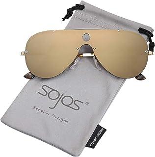 18845264fc3 SOJOS Classic Aviator Mens Womens Sunglasses Metal Half Rim Mirrored Lens  INSPIRATION