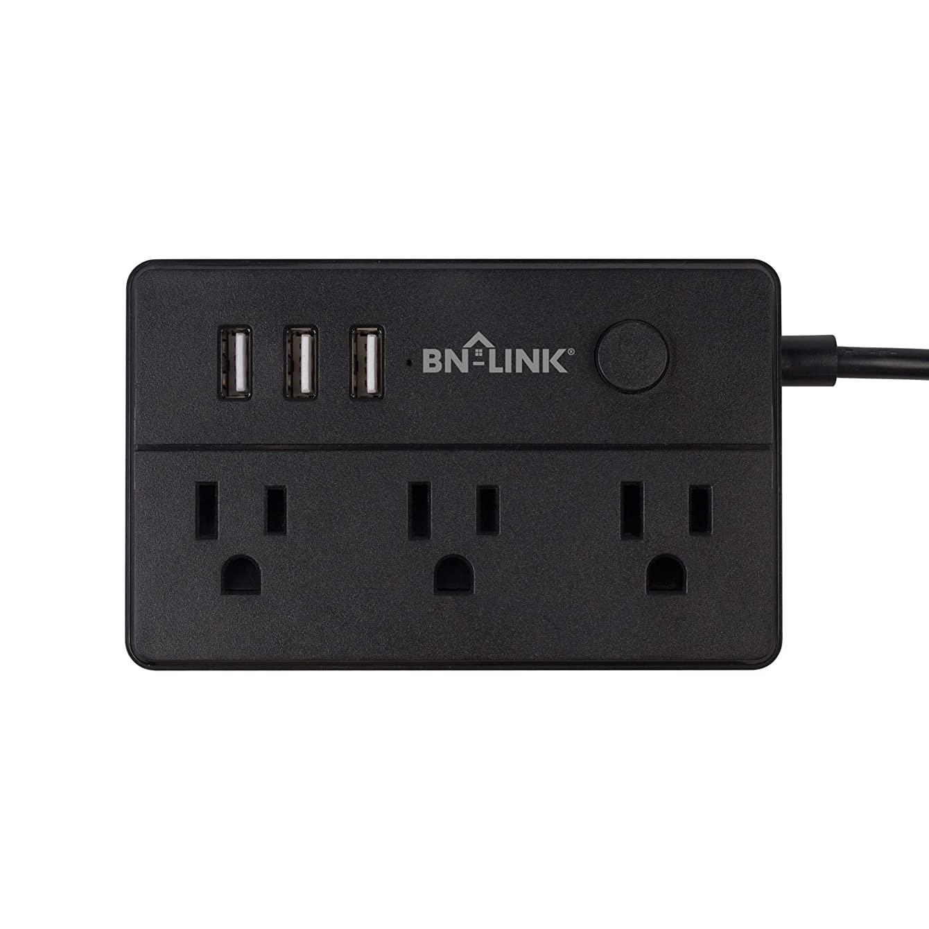 BN-LINK CP-C05 Mini Desk Power Strip with 3 Outlets and 3 USB Ports, 5 Feet Cord, Black