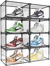 Mivnue Clear Shoe Box Stackable Storage Shoes Display Shelf Case with Drop Front Side-Open Shoe Container Transparent Plas...