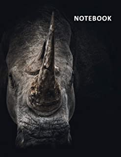 College Ruled Notebook: Black rhinoceros helpful Composition Book Daily Journal Notepad Diary for researching interesting facts about black rhinos
