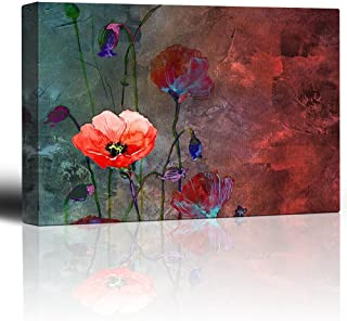 wall26 - Poppy Flowers Artwork Over a Blue and Red Picture with Abstract Painting Background - Giclee Prints Canvas Wall Art Modern Home Decor | Stretched Gallery Wrap Ready to Hang - 16x24 inches