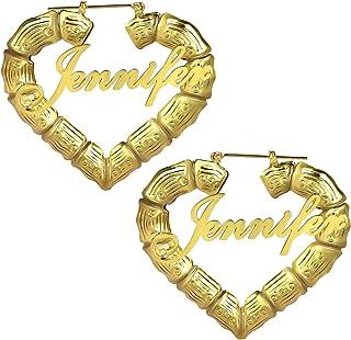 Orecchini personalizzati Bamboo Hoop Orecchini con nome personalizzato Orecchini a forma di cuore Nome Earbob Novità Eardrop