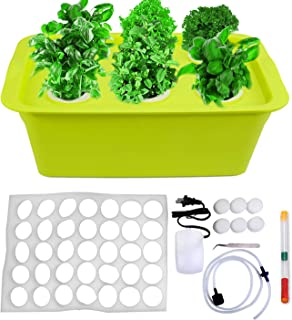 DWC Household Hydroponic System Growing Kit, Automatically Planting Box with 6 Holes Bucket Cover, Air Pump, Foam, Buoy, N...