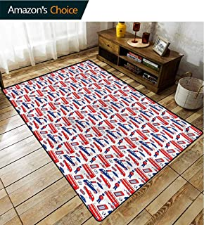TableCoversHome London Decorative Area Rug Girls Room, Classical Cultural Icons Pattern Printing Rugs, Easy Maintenance Area Rug Living Room Bedroom Carpet (8'x 10')