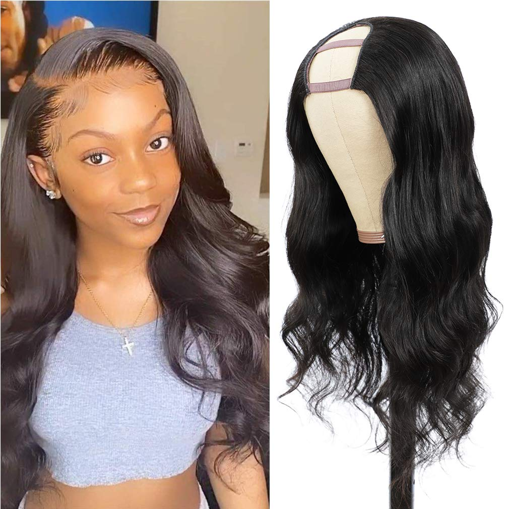 Bfary Body Wave New Free Shipping U Part Wig Human Black Sales for sale 100% Wigs Hair Women