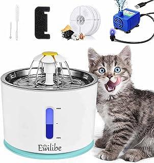 Ewilibe Fontaine à eau pour chat - Fontaine à eau - Fontaine pour chien et chat - 2,4 l - Fontaine à fleurs en acier inoxy...