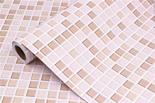 Mosaic Contact Paper Self-Adhesive Removable Thick Peel and Stick Wallpaper 3D Effect Matte Cleanable Bathroom Kitchen Shelf Paper Countertop Mosaic Wallpaper Light Brown Contact Paper 16