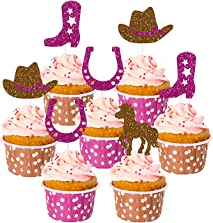 Cowgirl Cake Decorations 24 Pack with Boot, Horse Cake Toppers for Western Cowgirl Party Decorations or Baby Shower Supplies, 1st 2nd 3rd Birthday