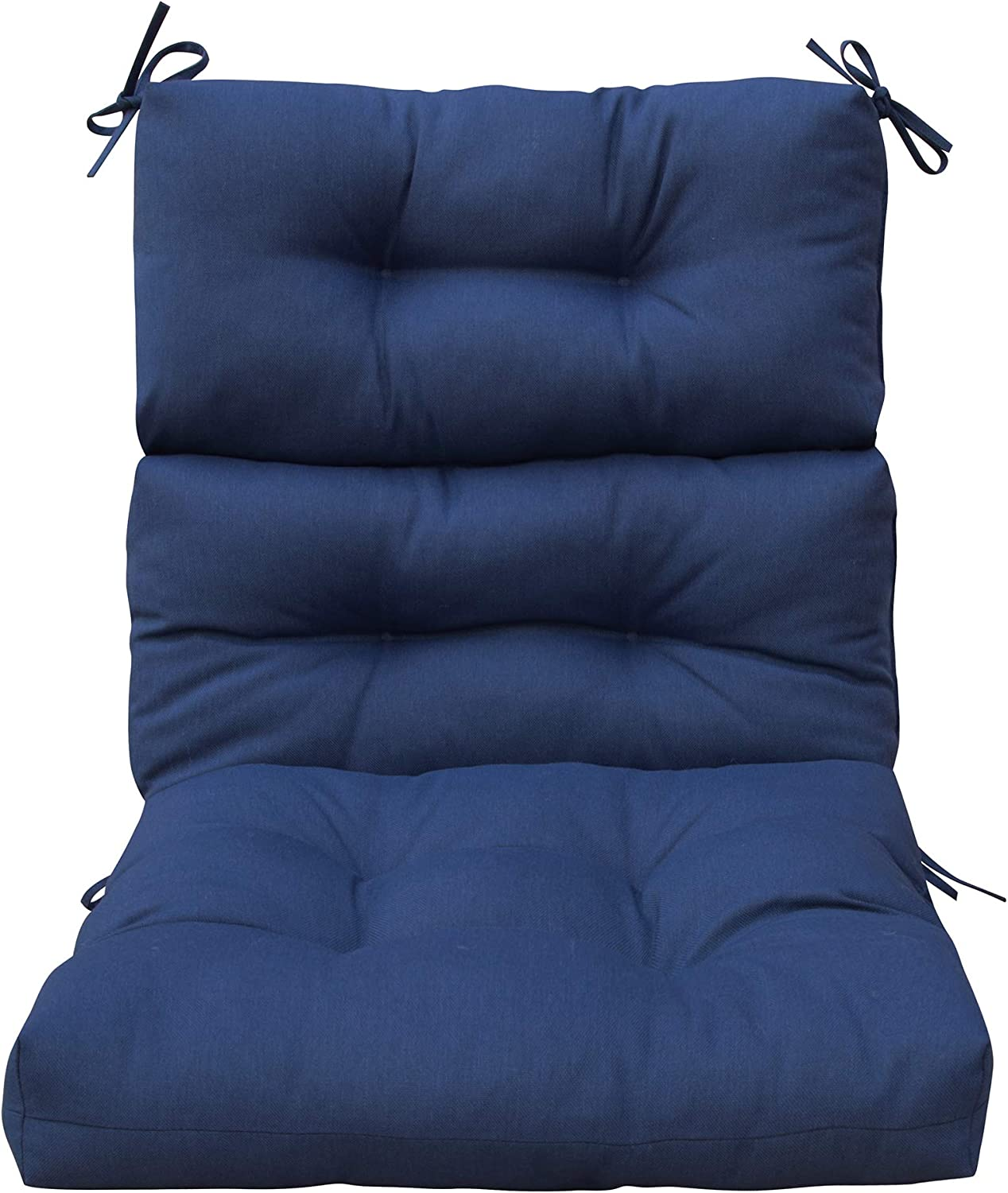 BOSSIMA Outdoor Patio High Back Chair Cushions Tufted Square Corner (Navy Blue)