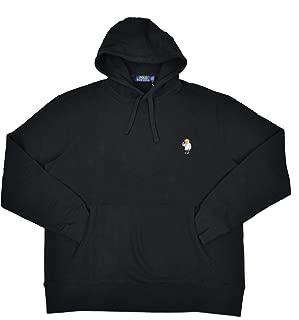 Men's Big & Tall Teddy Polo Bear Pullover Fleece Hoodie Sweater Black