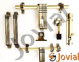 Jovial 1016 Door Fittings Kit, Door Accessories Kit, Door Kit Set (1 Aldrop, 1 Latch, 2 Handles, 1 Tower Bolt and 1 Door Stopper, Finish : Antique Brass) (1016)