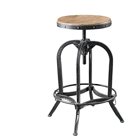 Amazon Com Southern Enterprises Industrial Adjustable Stool 19 24 Distressed Dark Pine And Black Finish Furniture Decor
