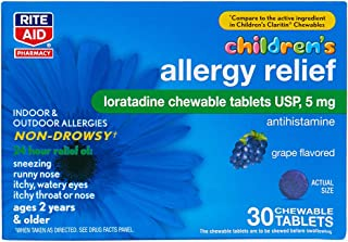 Rite Aid Children's Non-Drowsy Allergy Relief Chewable Tablets, Grape Flavor, Loratadine, 5 mg - 30 Count   Children's Allergy Medicine   Allergy Medication Tablets for Kids