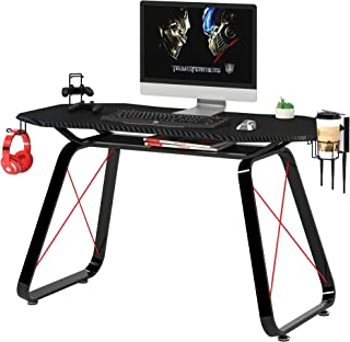 Mahmayi GT010 Modern Racing Style Gaming Table, Carbon Fiber PVC on MDF with Gear hook, Cup holder and Controller holders ...