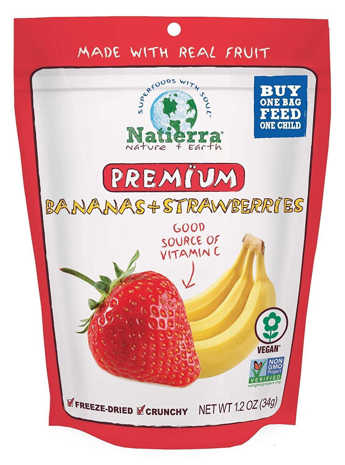 NATIERRA Premium Freeze-Dried Bananas and Max 44% OFF Non-GMO Today's only Strawberries