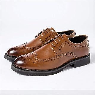 Zapatos casuales Zapatos de tela de Oxford para hombre, cordones de tacones de cuero vegano, tacones y zapatos de punta re...