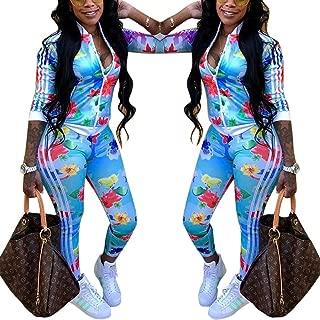 Women Two Piece Outfits Tracksuit Floral Zipper Jacket + Long Pants Set Jumpsuit