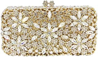 Your only brother Women's Luxury Crystal Rhinestone Flower Cutout Metal Party Evening Wedding Gift Bridal Gown Clutch Chain Shoulder Tote Wallet Size: 18 * 5 * 9cm (Color : Gold)