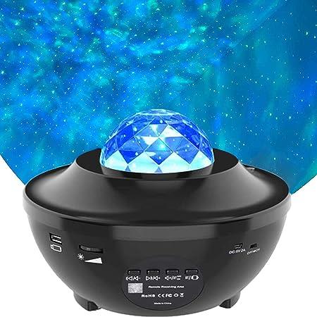 Vidéo Projecteur LED, Amouhom Veilleuse étoile Lampe de Rotatif Vidéoprojecteur de Nuage, Veilleuses Télécommandées, Lecteur Musique à Couleurs pour les fêtes de Noël, de pâques ou d'Halloween