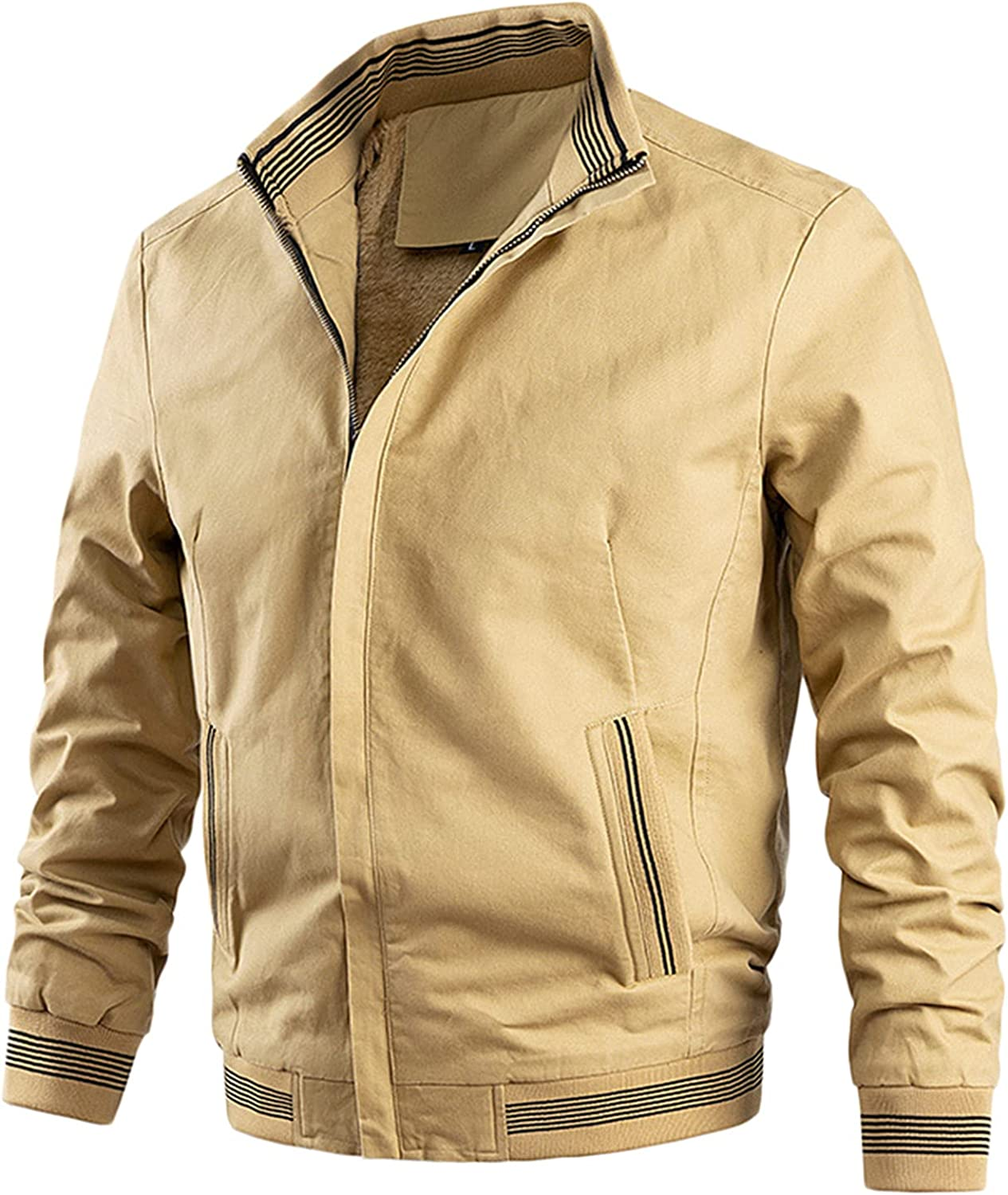Tops for Men Sports Zip Pocket Be super welcome Long Stand Jacksonville Mall Collar Jacket C Sleeve