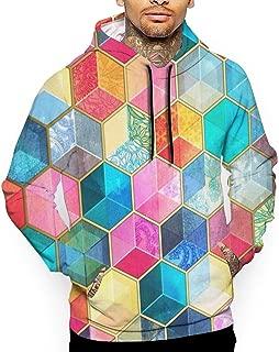 Mens Crystal Bohemian Honeycomb Cubes Hexagon Pullover Hoodie 3D Print Graphic Sweatshirts Hooded Shirts Pockets