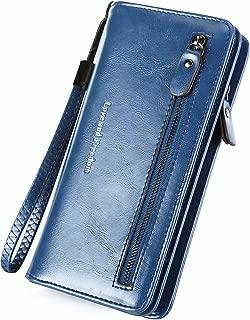 Women Leather Billfold Long Clutch Wallet with Phone Pocket Zipper Money Clip Wristlet