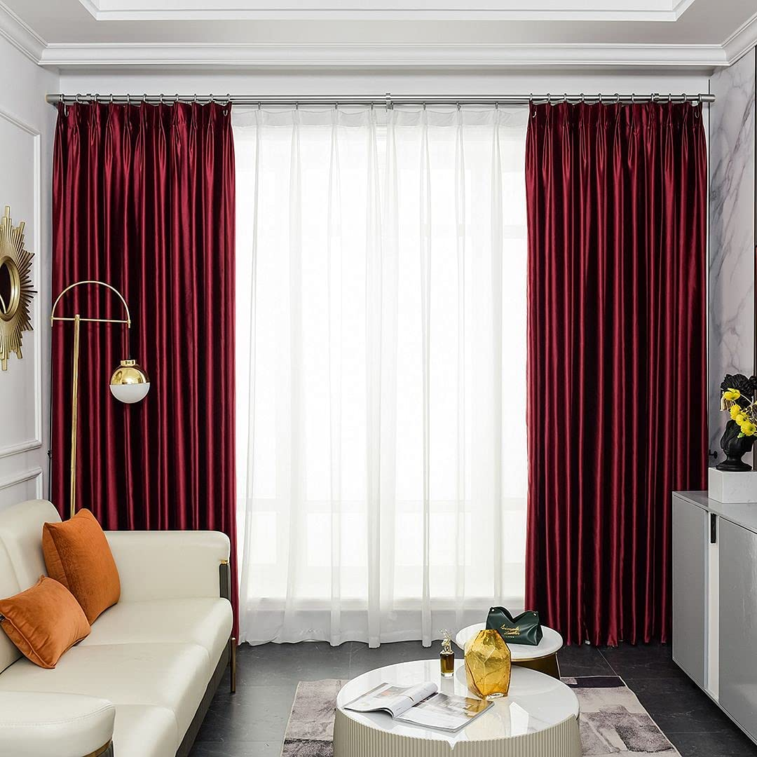 SPKTCULR SINY Curtain Burgundy Faux At the price 2 Blackout 95% Selling and selling Silk Layers
