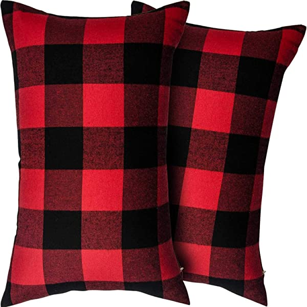 Heartybay Throw Pillow Cover 2 Pack 12x20 Inch Retro Farmhouse Buffalo Tartan Checkers Plaid Cotton Linen Decorative Square Cushion Case For Sofa Couch D Cor Bedroom Car Red Black