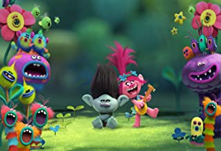 ERIC 7x5ft Vinyl Trolls Movies Theme Photography Background Children Happy Birthday Theme Party Photography Backdrops Baby Shower Colorful Decor Banner Photo Booth Studio Props LF106