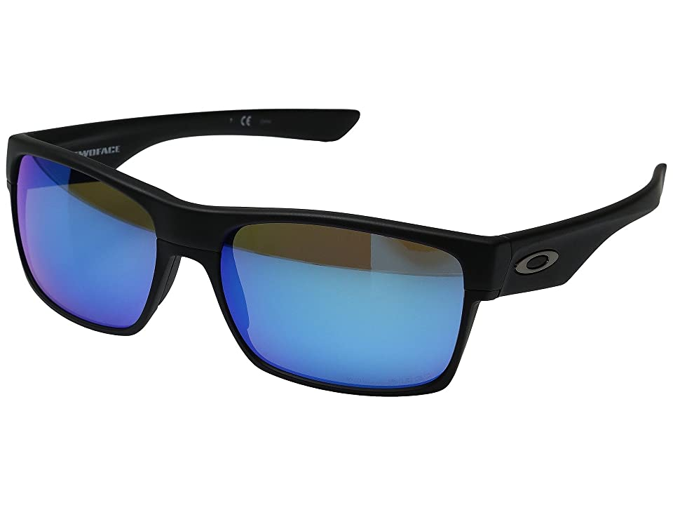 Oakley Two Face (Matte Black/Sapphire Iridium Polarized) Fashion Sunglasses