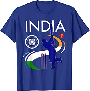 India Cricket With Indian Flag Brush Stroke T-Shirt