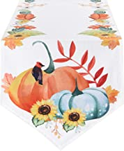 Smurfs Yingda Thanksgiving Day Table Runner Harvest Pumpkins Table Runner Tree Leaves Table Runner for Catering Events, Dinner Parties, Indoor and Outdoor Parties