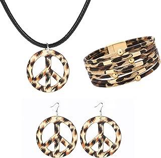 Dcfywl731 3Pcs Leopard Peace Sign Necklace Earrings Bracelet Set for Women 1960s 1970s Hippie Party Accessories Leather Costume Pendant Necklace