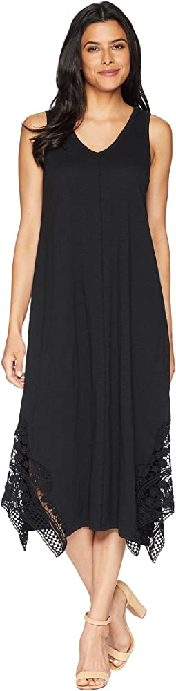Heavier Slub Jersey Midi Tank Dress with Crochet Lace